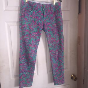 Lilly Pulitzer floral skinny mini denim jeans 6